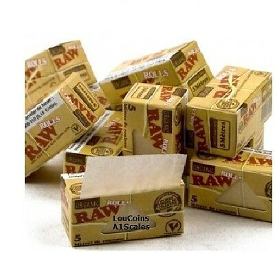 FOUR BOXES RAW ORGANIC ROLLS Natural Hemp Cigarette rolling paper 5 meters each!