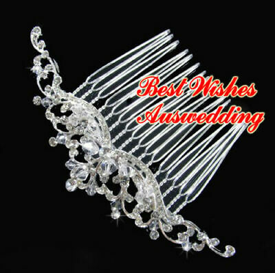 Wedding Bridal Rhinestone Crystal Flower Hair Comb, Styles & Sizes 10cm