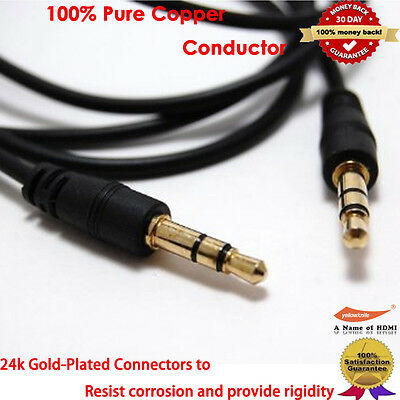 YellowPrice Gold 3.5mm Car Stereo Audio Auxiliary Male to Male Cable, 6-Feet