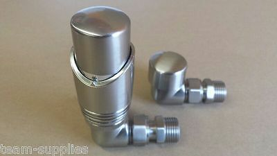 Thermostatic Towel Rail Radiator Valve Brushed Nickel Angled Corner Set Tse