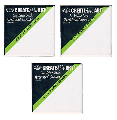 "6 x MINI ARTIST BLANK STRETCHED SQUARE BOX CANVAS 5"" x 5"" 12.5cm x 125cm DCAA450"