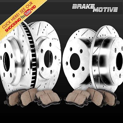 FRONT+REAR 4 PERFORMANCE DRILLED SLOTTED BRAKE ROTORS AND 8 CERAMIC PADS M180508