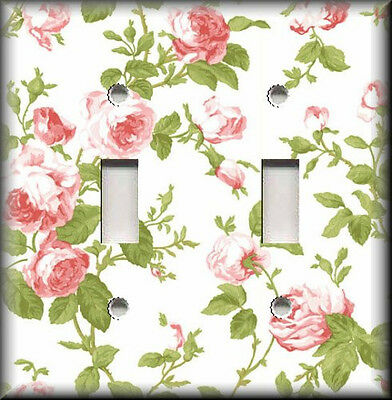 Metal Light Switch Plate Cover Vintage Pink Green White Roses Shabby Chic Decor