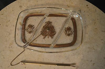 """Vtg 60's GEORGES BRIARD Appetizer Cheese Glass Tray with Persian Decoration 10"""""""