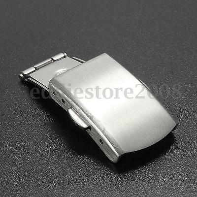 14/16/18/20/22mm Stainless Steel Watch Band Strap Button Fold Over Buckle Clasp