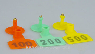 100set Yellow Sheep Goat Hog Beef Cow Ear Tag Lable laser Number 50X40mm Plastic
