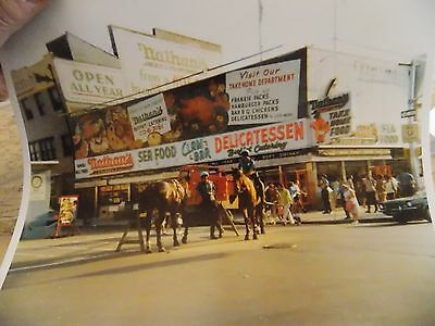 1971 Nathan's Famous Coney Island Police Horse Brooklyn New York NYC Color Photo