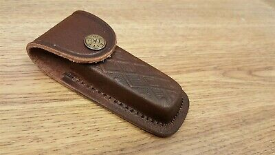 """Brown Leather Sheath For up to 4 1/8"""" Folding Pocket Knife"""