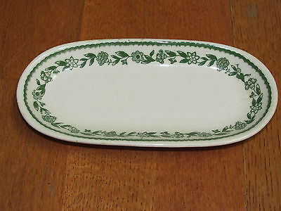 Vintage Oval Halo China Usa Green Flower/leaves Pattern 7.5""