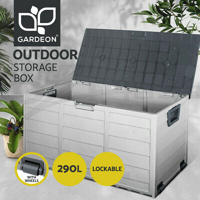 290L Outdoor Storage Lockable Box Grey Weatherproof Garden Deck Toy Shed