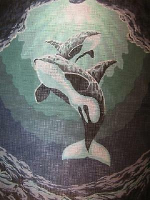 Orcas Killer Whales Tapestry Canvas Collection D'Art