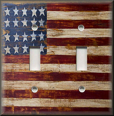 Metal Light Switch Plate Cover Rustic Primitive American Flag Wood Design Decor