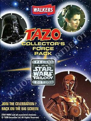 Star Wars Trilogy 1996 Walkers Uk Tazo Collectors Force Pack Album Binder
