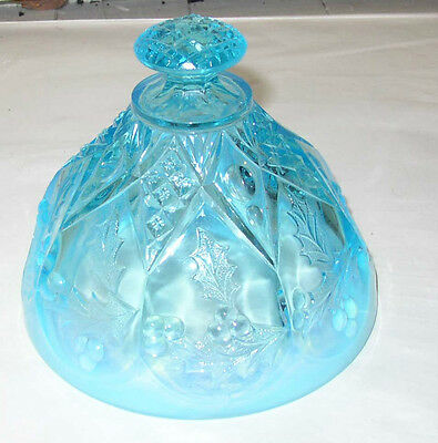 Scarce EAPG Northwood Paneled Holly Blue Opalescent Butter dish lid only