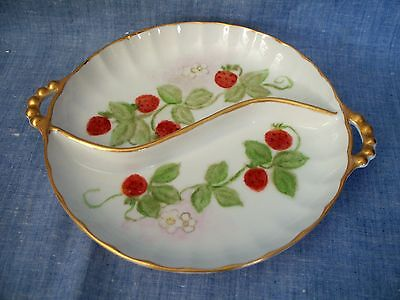 PORCELAIN HAND PAINTED DIVIDED GOLD TRIM STRAWBERRY FLAT BOWL