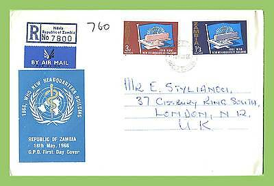 Zambia 1966 Inaug of W.H.O. Headquarters, Geneva First Day Cover