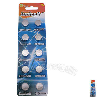 10 pcs AG13 GP76 357A SR44SW RW42 1.5V Alkaline Button Cell Battery EuniCell