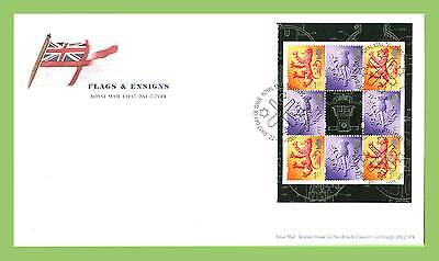 G.B. 2001 Flags & Ensigns booklet pane u/a Royal Mail First Day Cover, Bureau