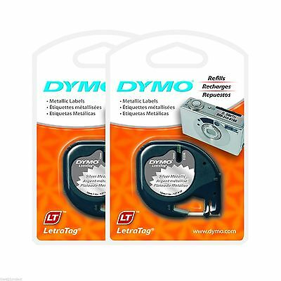 2PK Dymo LetraTag SILVER Metallic Refill Tapes for Letra Tag & QX50 Label Makers