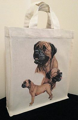 Mastiff Natural Cotton Small Fun Party Bag Tote with Gusset Useful Gift