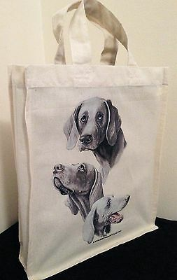 Weimaraner Natural Cotton Small Fun Party Bag Tote with Gusset Useful Gift