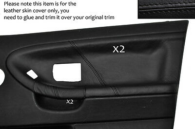 Black Stitch 2X Front Door Card Leather Covers Fits Bmw E36 Saloon Sedan 91-98