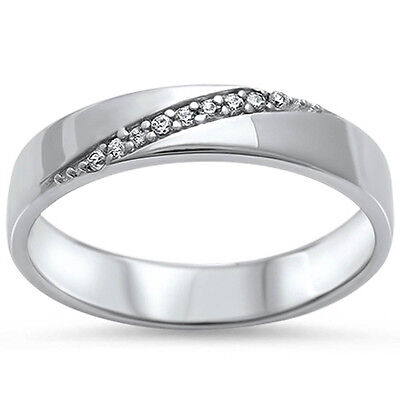 Men's Women's Shiny Silver Cz Band .925 Sterling Silver Ring Sizes 6-13