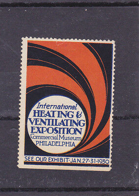 Vintage Poster Stamp Label 1930 Heating Ventilation Exposition Philadelphia #IM