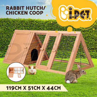 i.Pet Rabbit Hutch Run Metal Wooden Cage House Chicken Coop Guinea Pig Large