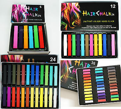 Hair Chalk Pastel Temporary Colour Wash Out Sets 6 , 12 , 24 , 36 Box