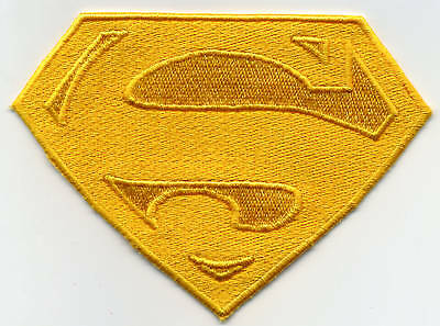 """3"""" x 4"""" Small, Fully Embroidered Superman Yellow 'S'  Logo Patch"""