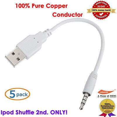 5pc New 2.0 2-In-1 USB Sync&Charge Cable Compatible With Apple IPOD Shuffle 2nd.