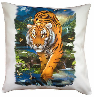 Tiger Prowling Themed Cotton Cushion Cover - Perfect Gift