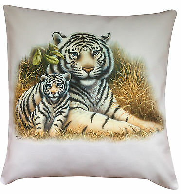 Tiger White with Cub Themed Cotton Cushion Cover - Perfect Gift