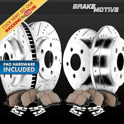 FRONT+REAR 4 PERFORMANCE DRILLED SLOTTED BRAKE ROTORS AND 8 CERAMIC PADS M640519