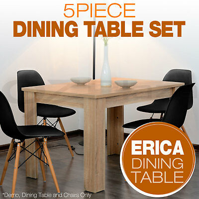 Set of 1x Wooden Dining Table + 4x Eames Replica DSW Retro Dining Chairs BK