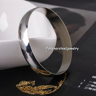 8MM Silver Round Polish Stainless Steel Bangle Cuff Bracelet 70mm Jewelry