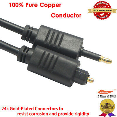 Optical Toslink to Toslink Mini Fiber Optic Gold Plated Digital Cable - 3ft