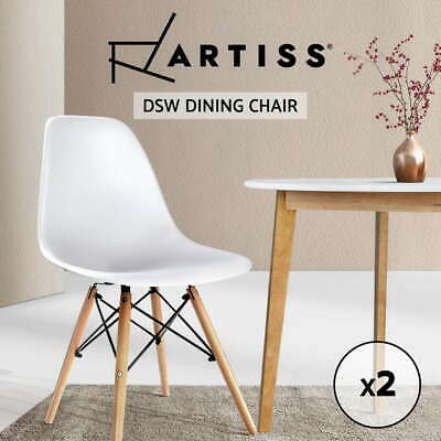 2 x Retro Replica Eames Eiffel DSW Dining Chairs Cafe Kitchen Beech WHITE