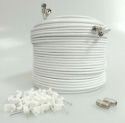 40M White Satellite Twin F Connector Sky + HD Extension Coax Cable Lead TV Wire