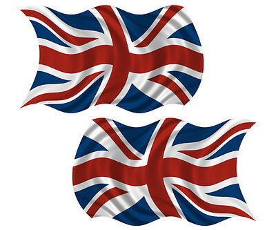 "Britain Union Jack Waving Flag British UK Vinyl Sticker Decal SET 4"" set of 2"