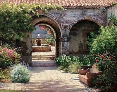 Fountain Courtyard Oil painting Picture Printed on canvas 16X20 Inch
