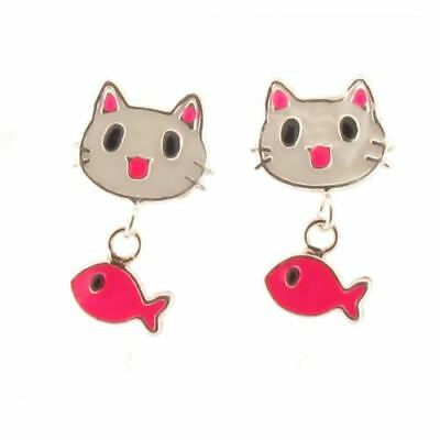 Sterling Silver Cat and Dangling Fish Stud Earrings with White and Pink Enamel