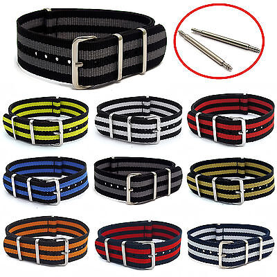 NATO Watch Strap Striped Band Webbing Military Choice of colour, sizes FREE Pins