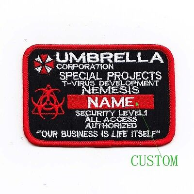 Custom name tapes Resident Evil Umbrella Corporation Badges Velcro Patch B1988