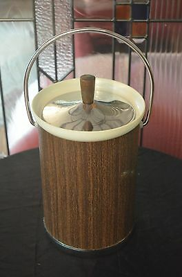 Mid Century KROMEX Retro Style Ice  Bucket Wood Design With Handle Made in USA