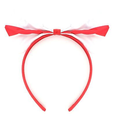 100 Large Satin St George Cross Bow Alice Bands Red & White
