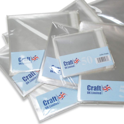"50 x CLEAR CELLOPHANE BAGS 4"" x 4"" 102mm BLANK GREETINGS CARDS CARDMAKING 1019"