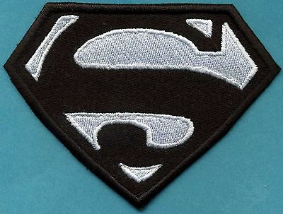 """3"""" x 4"""" Small Embroidered Black with White Superman 'S'  Logo Patch"""