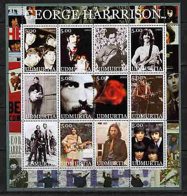 Udmurtia 2002 George Harrison - Beatles  Complete Set Of 24 Stamps In 2 Sheets!